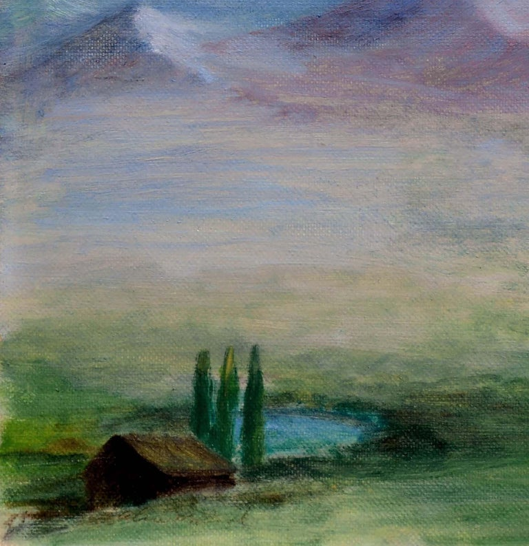 Homestead Beneath a Desert Mountain Landscape  - American Impressionist Painting by Alice M. Fink