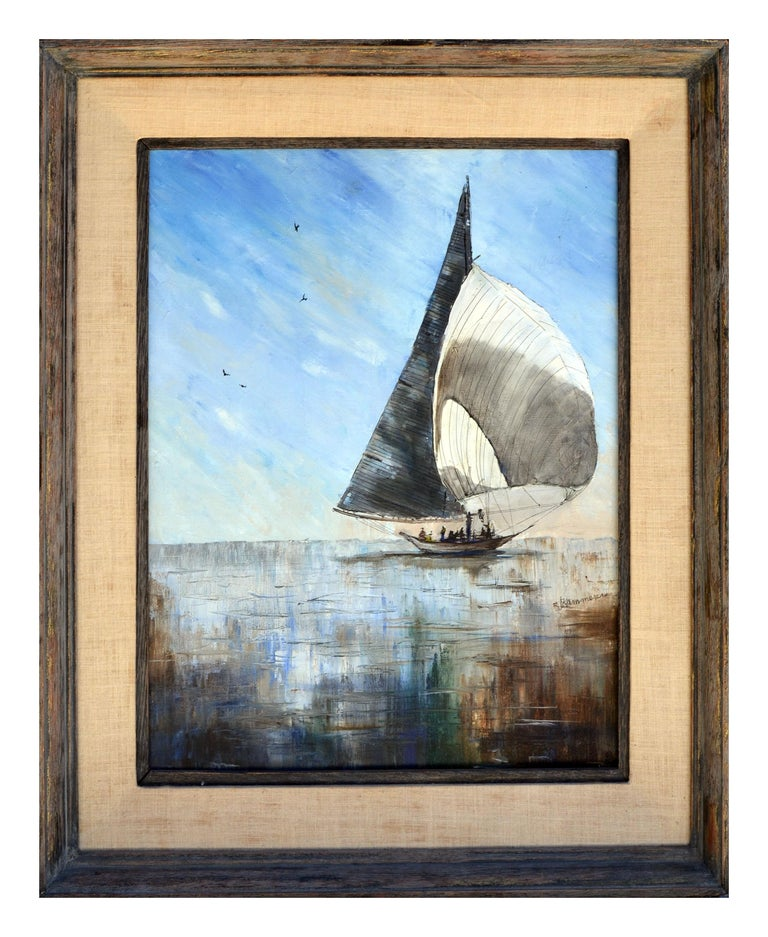 Jaqueline Kammerer Cattaneo  Figurative Painting - Sailboat Seascape