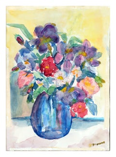 Bouquet with Blue Vase Floral Still-Life