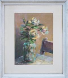 Pastel Rose in Ball Jar Still Life