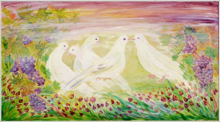 Mohammad Hourian Landscape Painting - Peace Doves in Vineyard