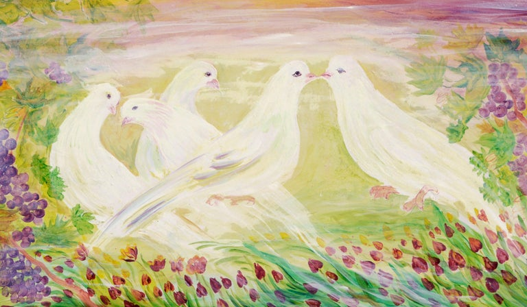 Peace Doves in Vineyard  - Painting by Mohammad Hourian