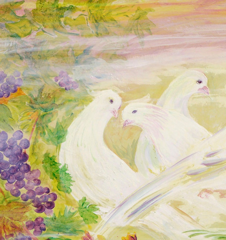 Peace Doves in Vineyard  - American Impressionist Painting by Mohammad Hourian