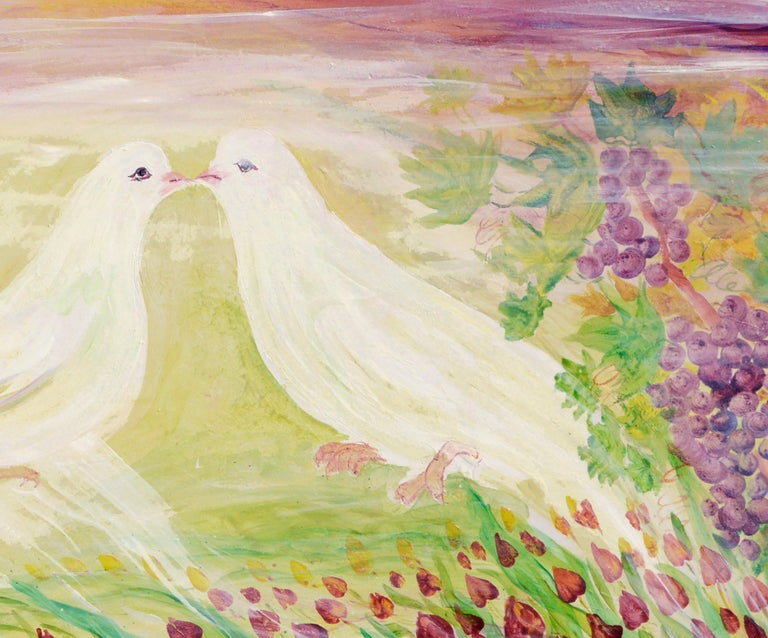 Peace Doves in Vineyard  - Beige Landscape Painting by Mohammad Hourian