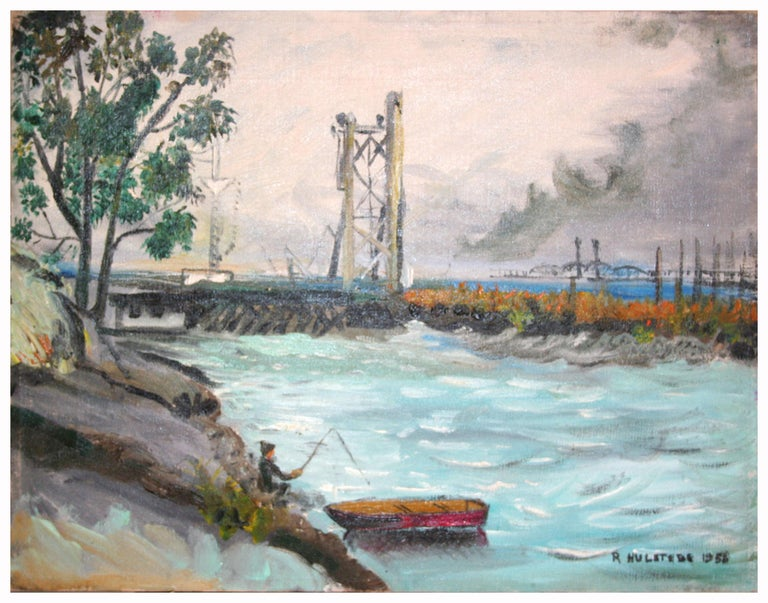 Ruth Garber Hulstede  Figurative Painting - Mid Century Fishing Coyote Point San Francisco Bay