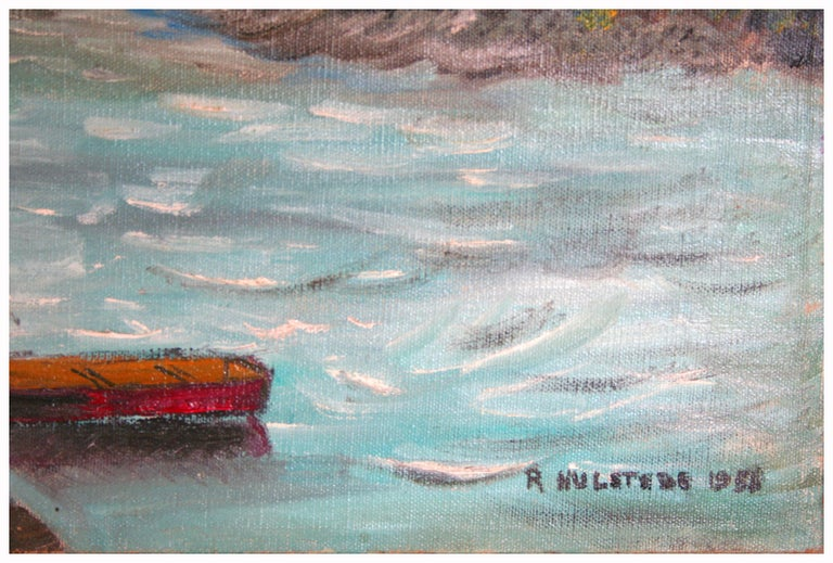 Mid Century Fishing Coyote Point San Francisco Bay - American Impressionist Painting by Ruth Garber Hulstede