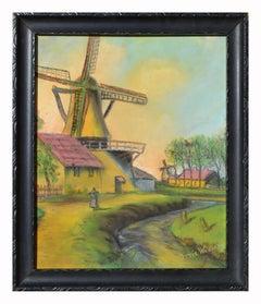 Fauvist Dutch/Belgium Windmill Landscape