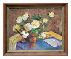 Mid Century Yellow Roses and Letter Still Life