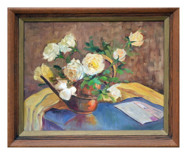 Mildred T. German Still-Life Painting - Mid Century Yellow Roses and Letter Still Life