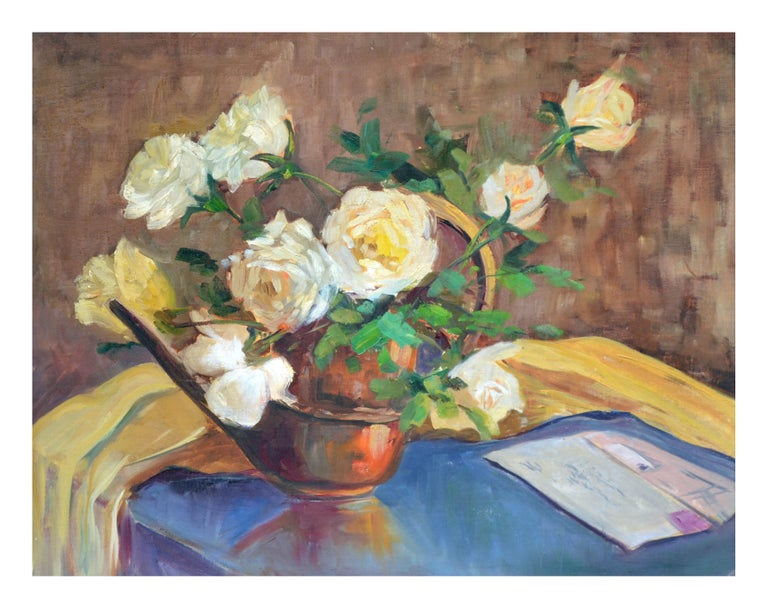 Mid Century Yellow Roses and Letter Still Life - Painting by Mildred T. German