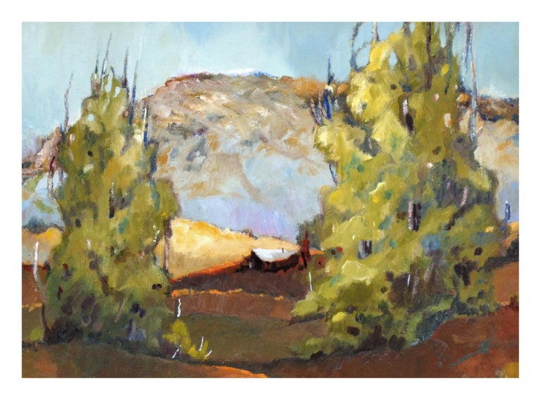Mid Century California Bay Area Hills  Landscape - Beige Landscape Painting by Zoe Thompson