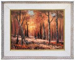 Autumn Walk in the Woods - Midcentury Figurative Landscape