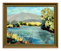Mid Century Northern California Mountain Lake Landscape