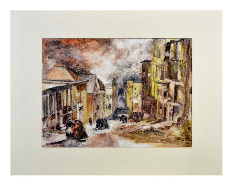 Mid Century French Street Scene Landscape - Painting by Ruth Williams Brickner