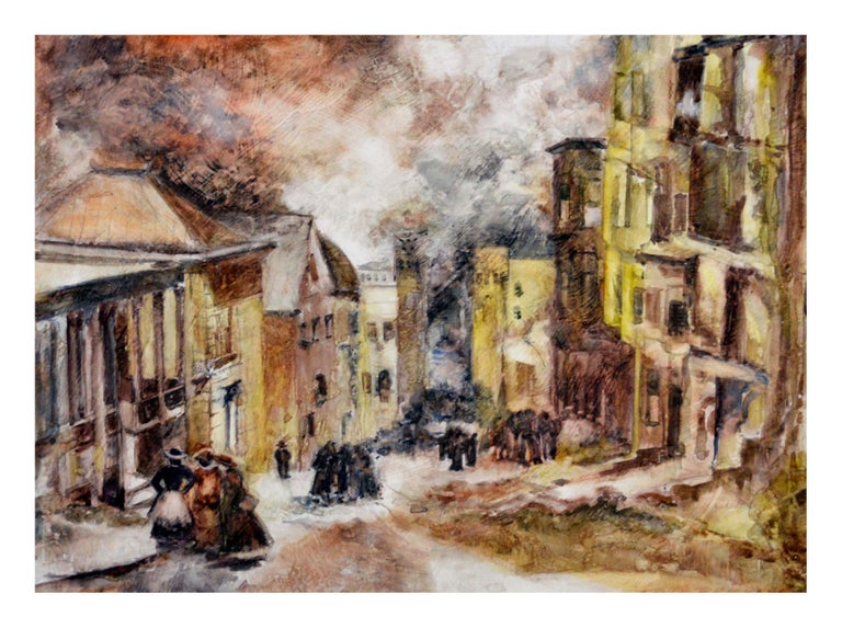 Ruth Williams Brickner Figurative Painting - Mid Century French Street Scene Landscape