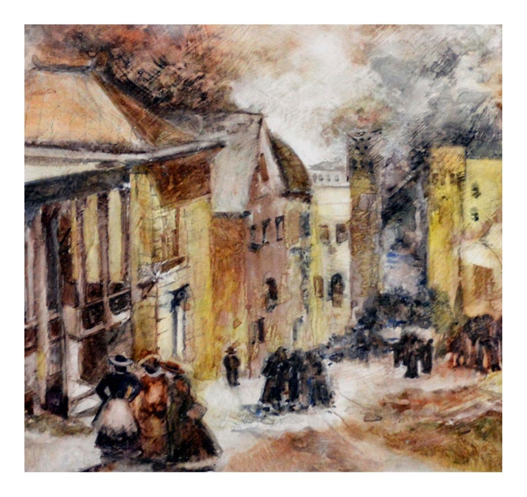 Mid Century French Street Scene Landscape - American Impressionist Painting by Ruth Williams Brickner