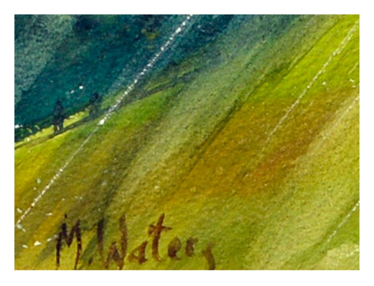 Mid Century Tyrolian Mountain Home - American Impressionist Painting by Mildred Waters