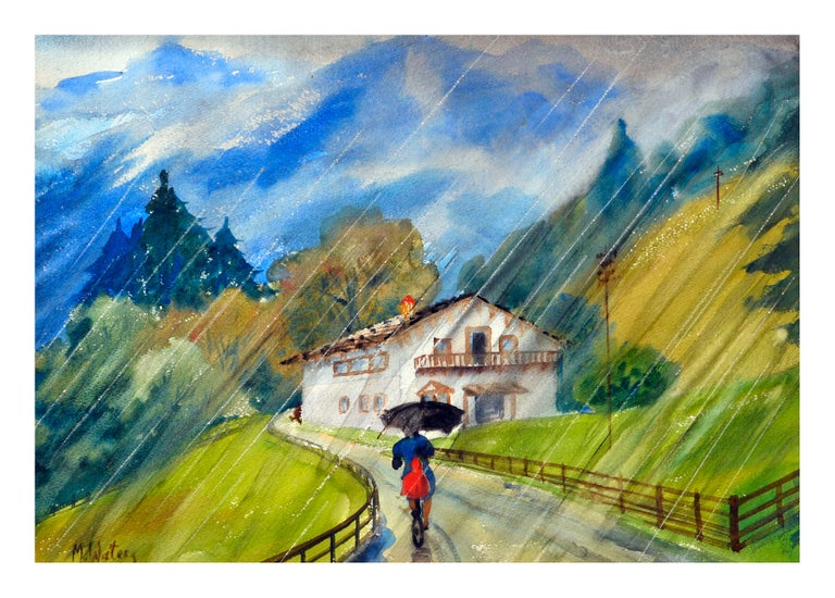 Mildred Waters Landscape Painting - Mid Century Tyrolian Mountain Home