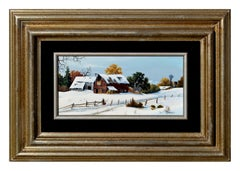 Mid Century Barns Covered in Snow Landscape