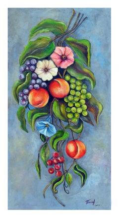 Mid Century Fruits & Flowers Still Life