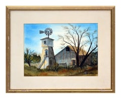 Mid Century California Foothill Farm with Windmill Landscape