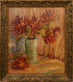 Mid Century Red Flowers Still-Life