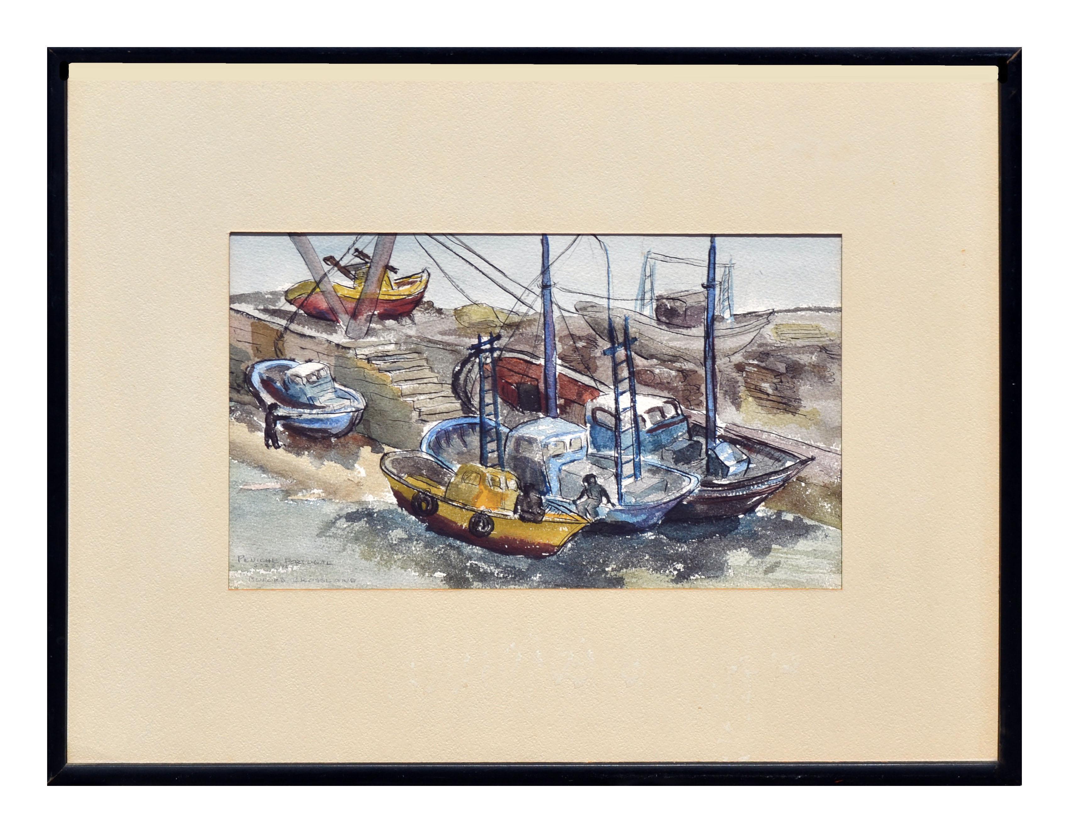 Portugal Harbor - Figurative Landscape with Boats