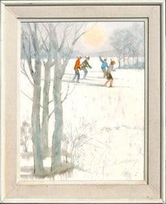 Snowy Skiers - Figurative Colorado Winter Landscape