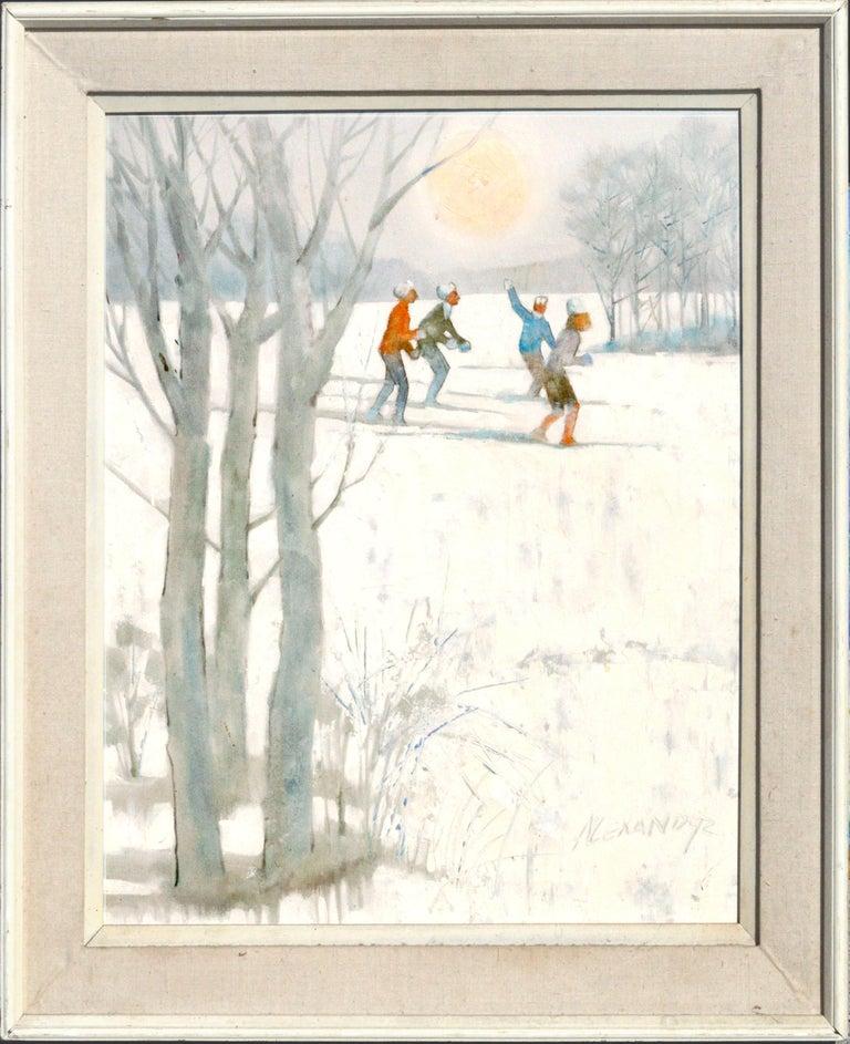 Bill Alexander Figurative Painting - Snowy Skiers - Figurative Colorado Winter Landscape