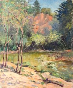 Mid Century Santa Cruz Mountains & Stream Landscape