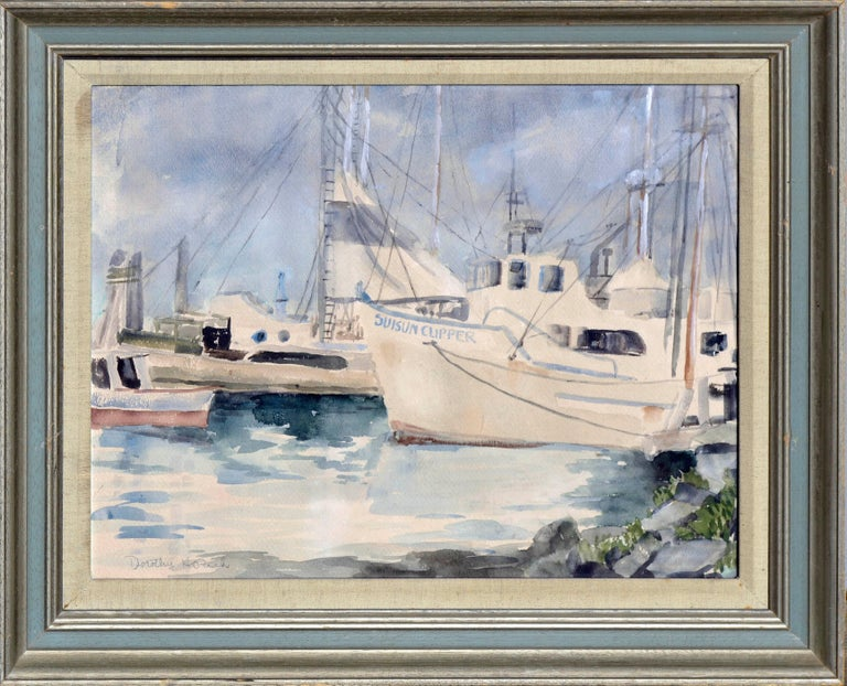 Dorothy Ruth Houghton Rich Landscape Art - Boats at Moss Landing Harbor, Mid Century Seascape