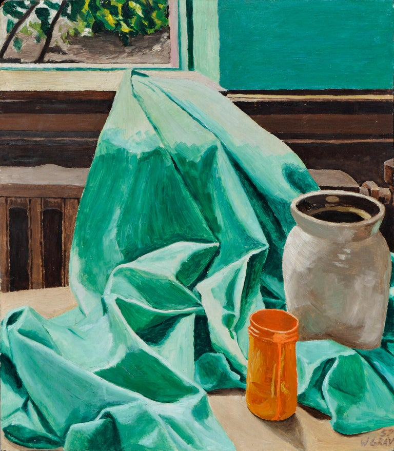 W. Gray  Still-Life Painting - Mid Century Still-Life with Green Drape