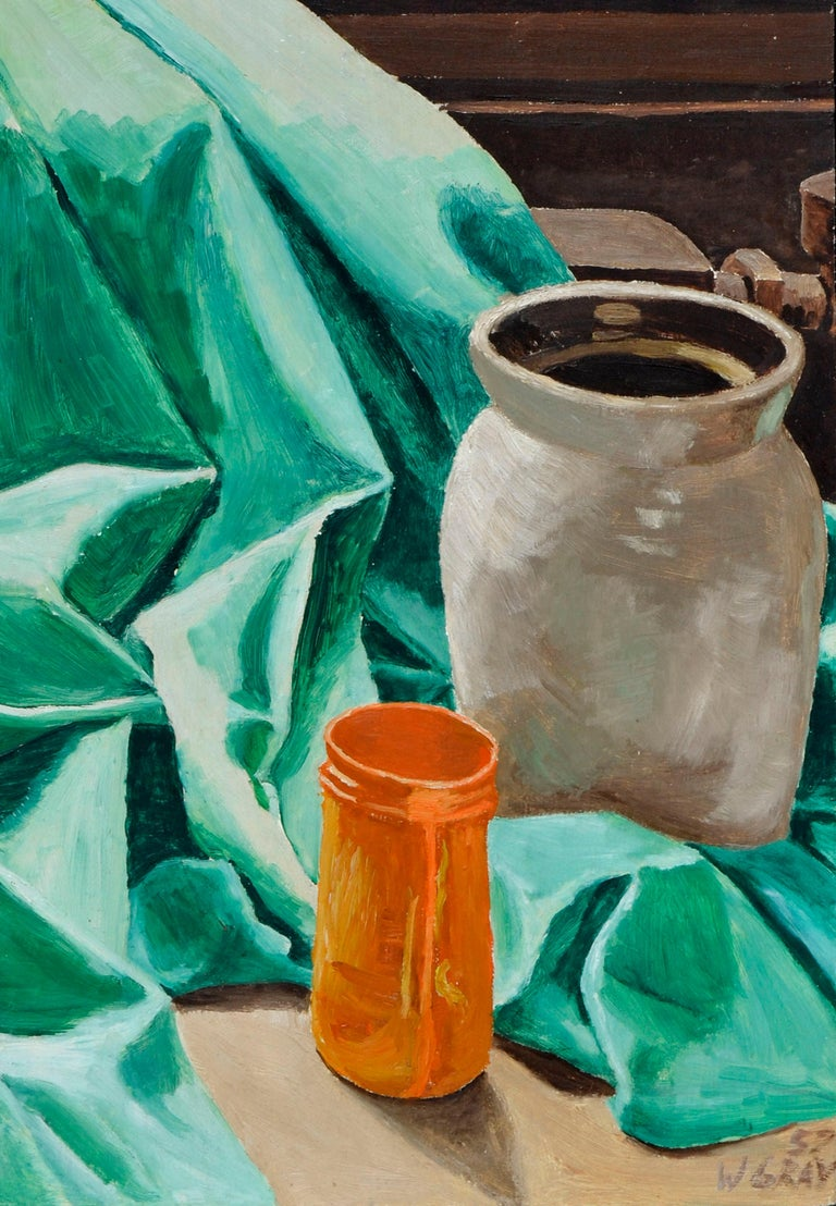 Mid Century Still-Life with Green Drape  - American Impressionist Painting by W. Gray