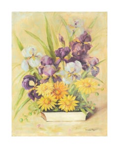 Vintage Irises and Daisies Still Life