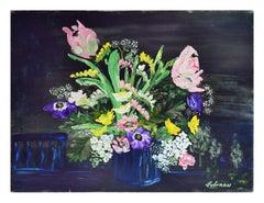 Mid Century Nocturnal Spring Bouquet Still Life