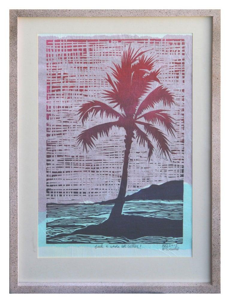 K Wessels Landscape Print - Tropical Palm Block Print