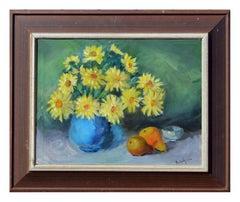 Yellow Daisies and Pears Still Life