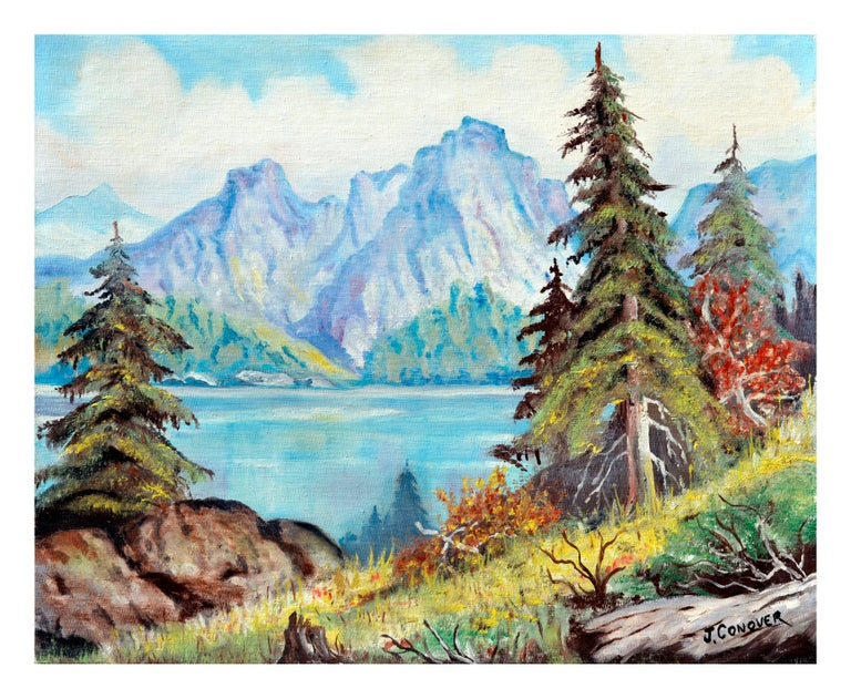 J. Conover Landscape Painting - Sierra Mountains Reflecting on Tahoe Lake