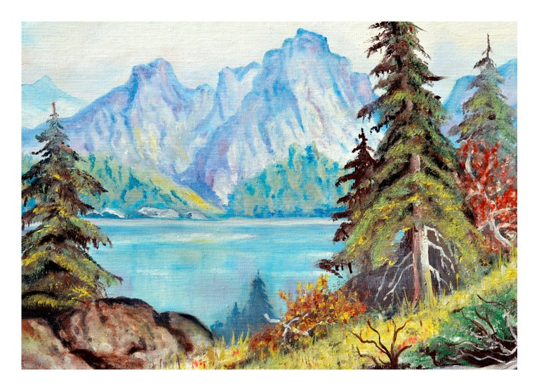 Sierra Mountains Reflecting on Tahoe Lake  - Painting by J. Conover