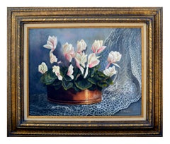 White Cyclamen & Lace Still Life