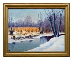 The Winter Pond Mid Century Landscape