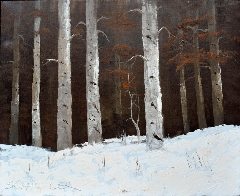 Schissler Landscape Painting - Colorado Birches in Winter Landscape