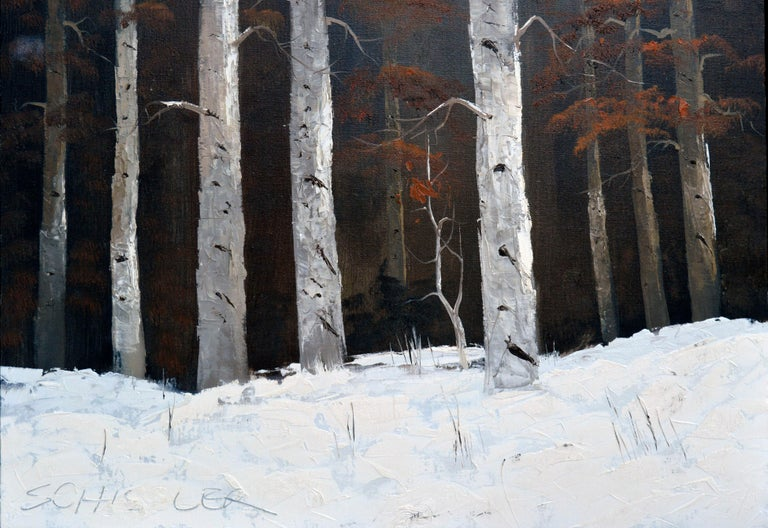 Colorado Birches in Winter Landscape - Abstract Expressionist Painting by Schissler
