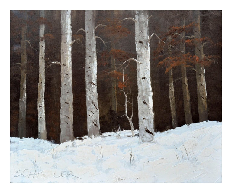 Colorado Birches in Winter Landscape - Painting by Schissler