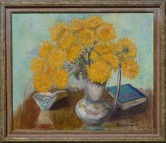 Mid Century Yellow Chrysanthemums & Book Still Life