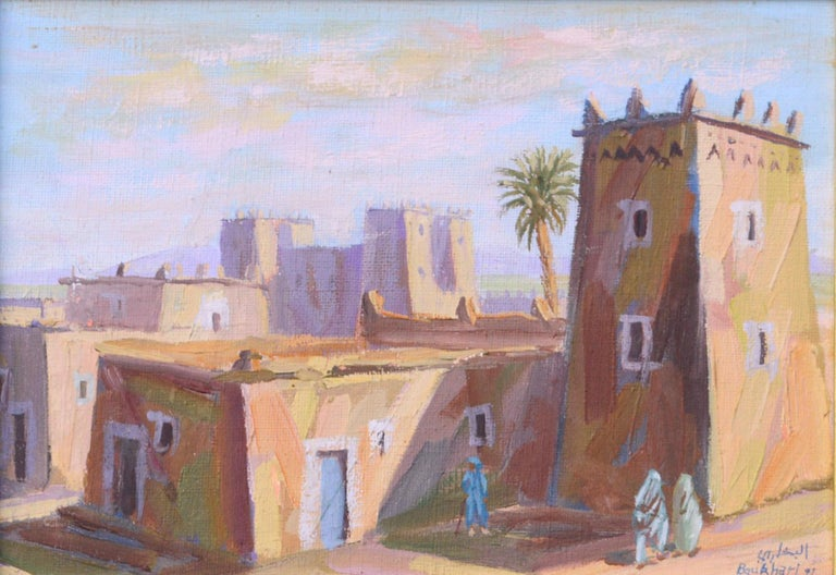 Middle Eastern Street Scene - Painting by Boukhari