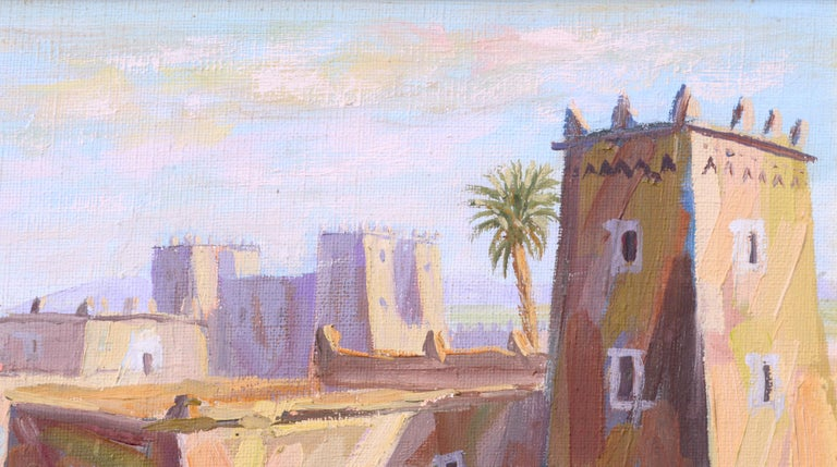Middle Eastern Street Scene - Brown Landscape Painting by Boukhari
