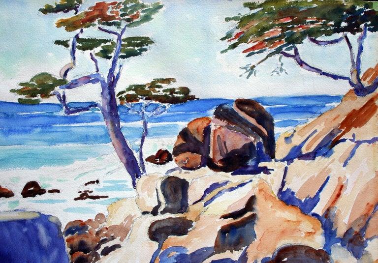Carmel Cypress Trees Landscape - Painting by John H. Gratiot