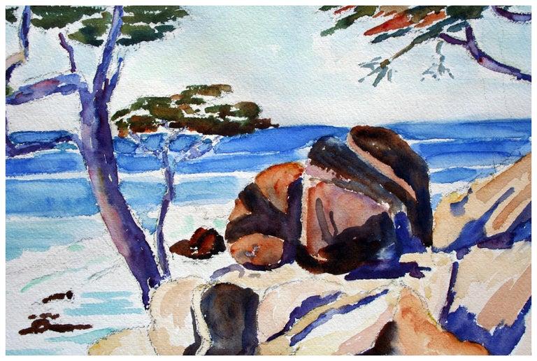 Carmel Cypress Trees Landscape - American Impressionist Painting by John H. Gratiot