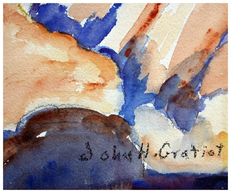 Carmel Cypress Trees Landscape - Gray Landscape Painting by John H. Gratiot